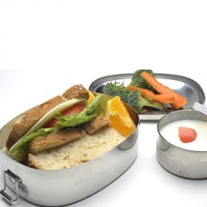 Ecolunchboxes oval lunchbox gevuld met lunch lekvrij bakje met roestvrijstalen trommel