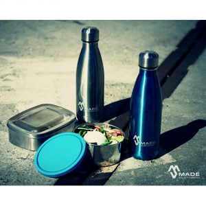 Made Sustained set blue+ silver bottle and lunchbox
