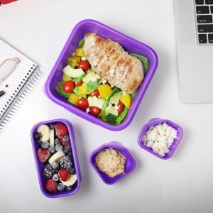 goodbyn portions on the go lunchbox set gevuld paars